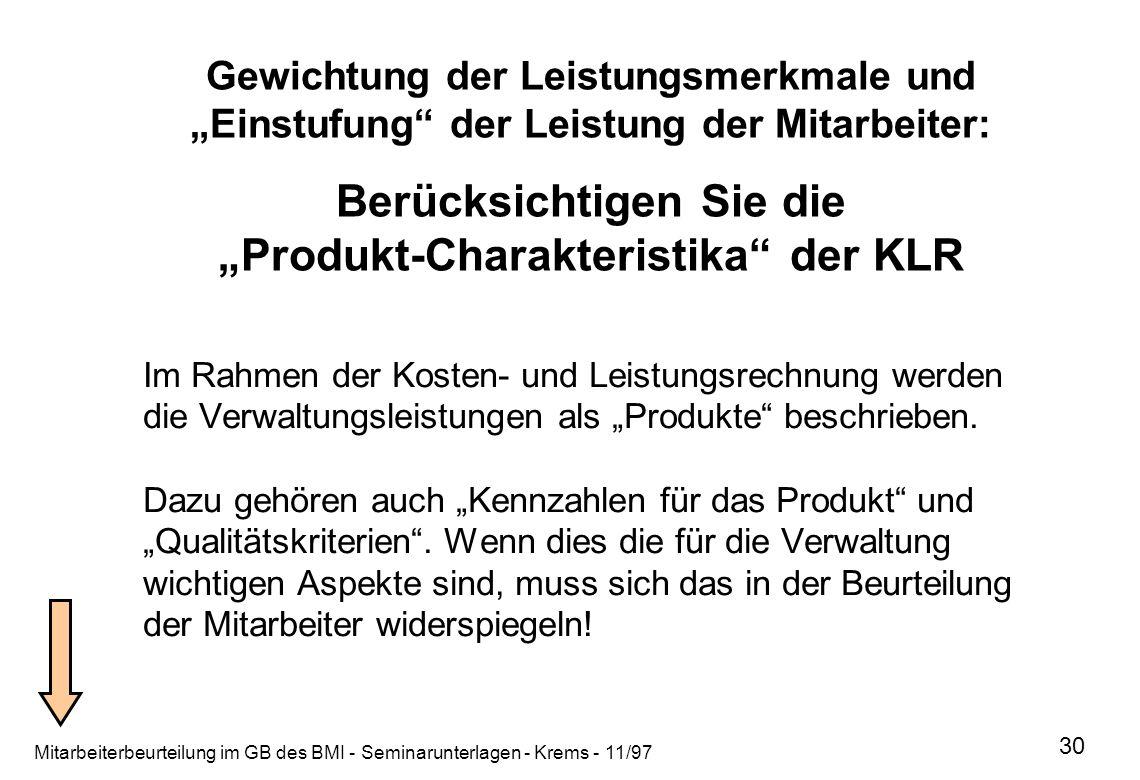 """Gewichtung der Leistungsmerkmale und """"Einstufung der Leistung der Mitarbeiter: Berücksichtigen Sie die """"Produkt-Charakteristika der KLR"""