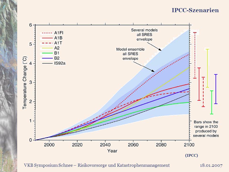 IPCC-Szenarien Dies sind die Rechnungen des IPCC nicht nur für verschiedene Szenarien, sondern auch für verschiedene Modelle.