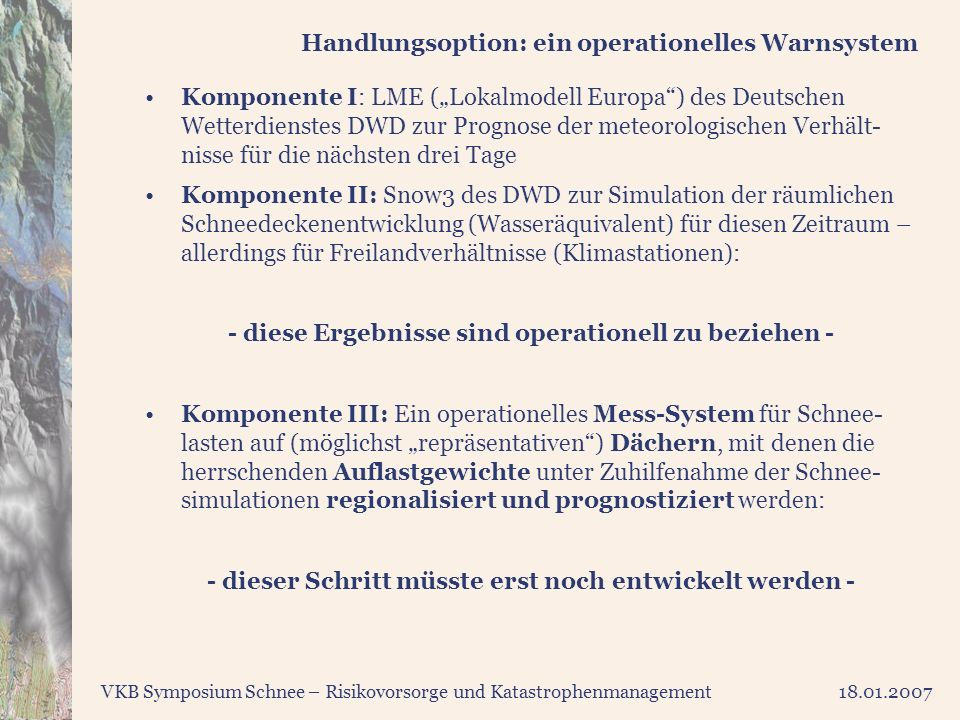 Handlungsoption: ein operationelles Warnsystem