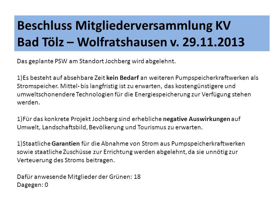 Beschluss Mitgliederversammlung KV Bad Tölz – Wolfratshausen v. 29. 11