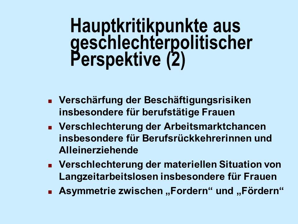 Hauptkritikpunkte aus geschlechterpolitischer Perspektive (2)