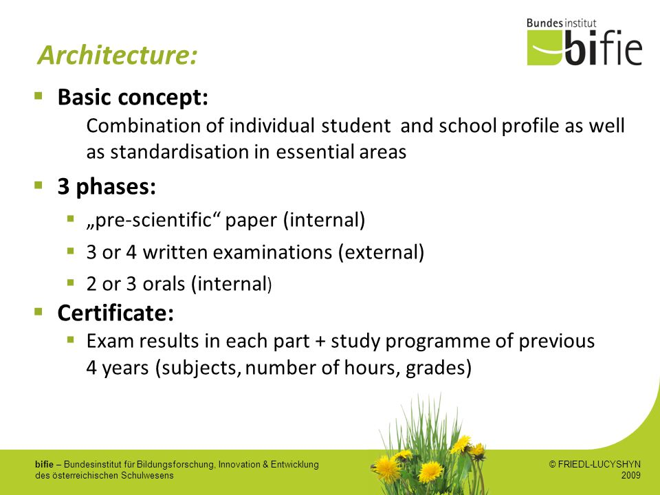 Architecture: Basic concept: 3 phases: Certificate: