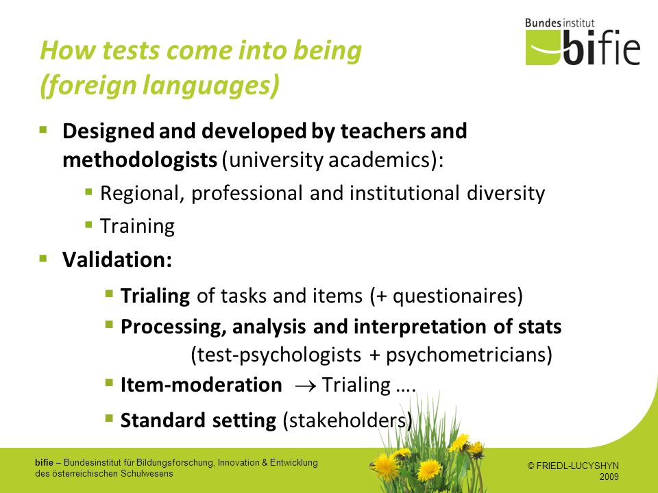 How tests come into being (foreign languages)