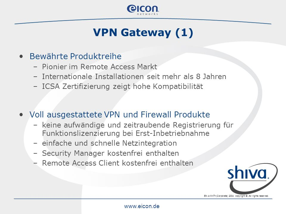 VPN Gateway (1) Bewährte Produktreihe