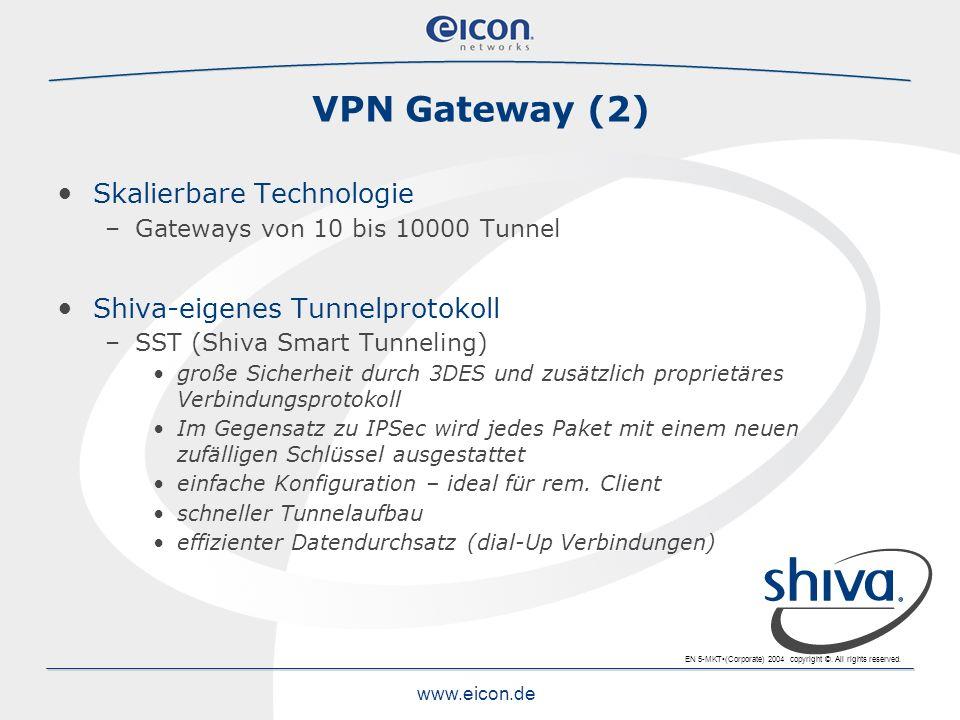 VPN Gateway (2) Skalierbare Technologie Shiva-eigenes Tunnelprotokoll