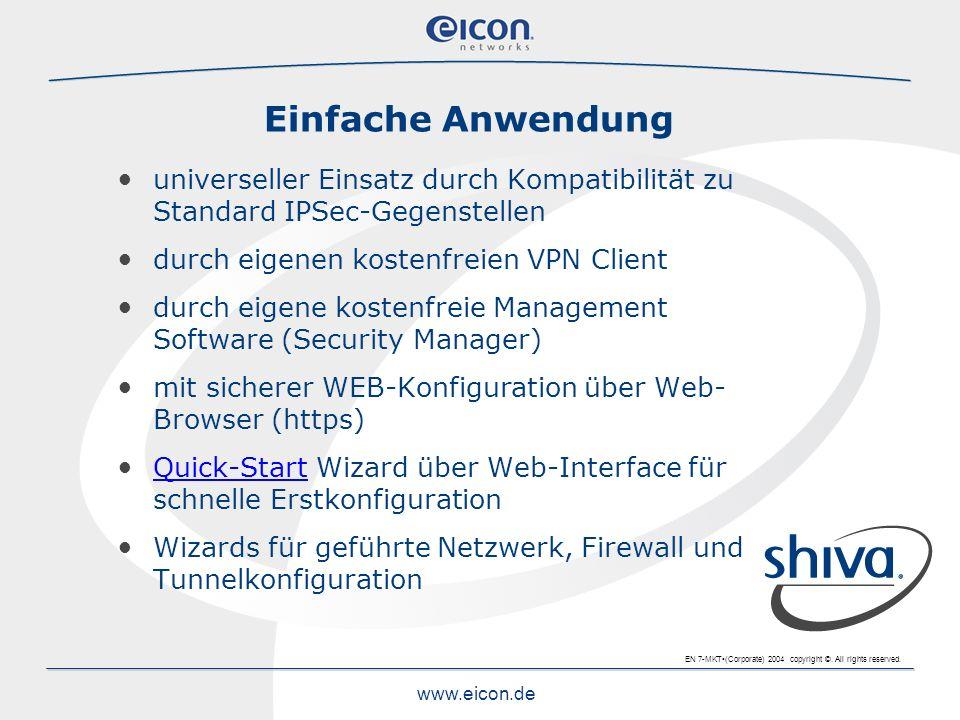 Einfache Anwendung universeller Einsatz durch Kompatibilität zu Standard IPSec-Gegenstellen. durch eigenen kostenfreien VPN Client.