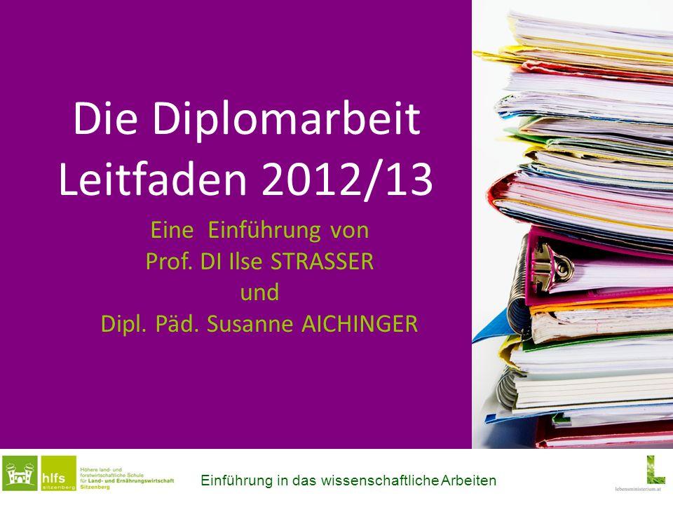 Die Diplomarbeit Leitfaden 2012/13