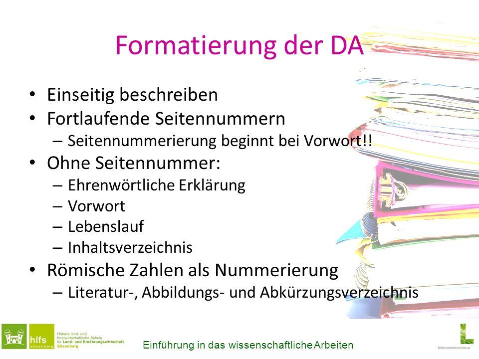 Formatierung der DA Einseitig beschreiben Fortlaufende Seitennummern