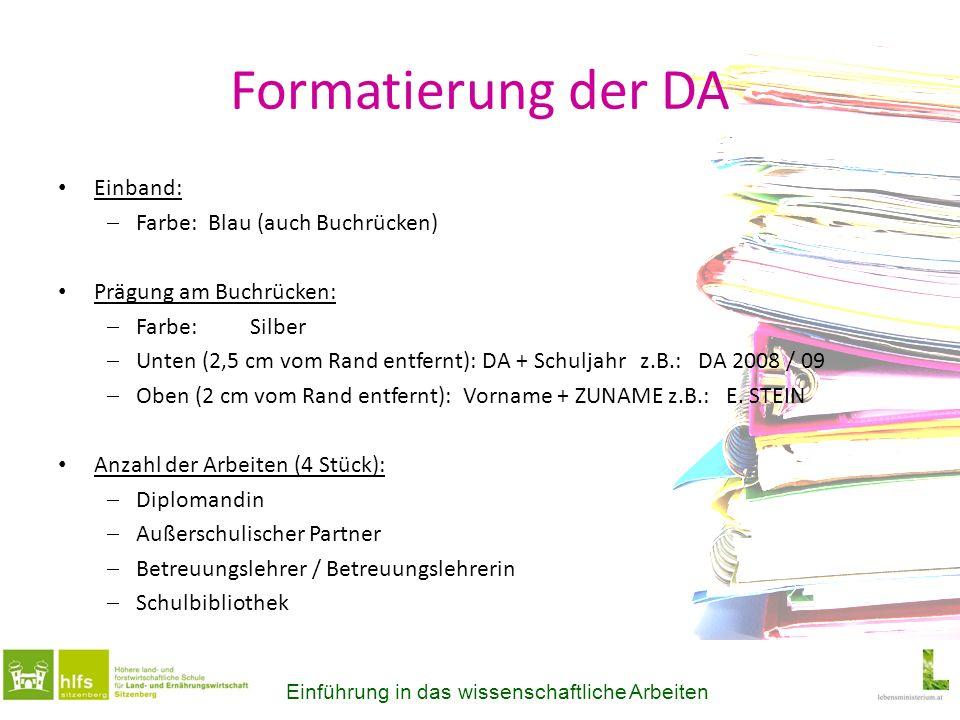 Formatierung der DA Einband: Farbe: Blau (auch Buchrücken)