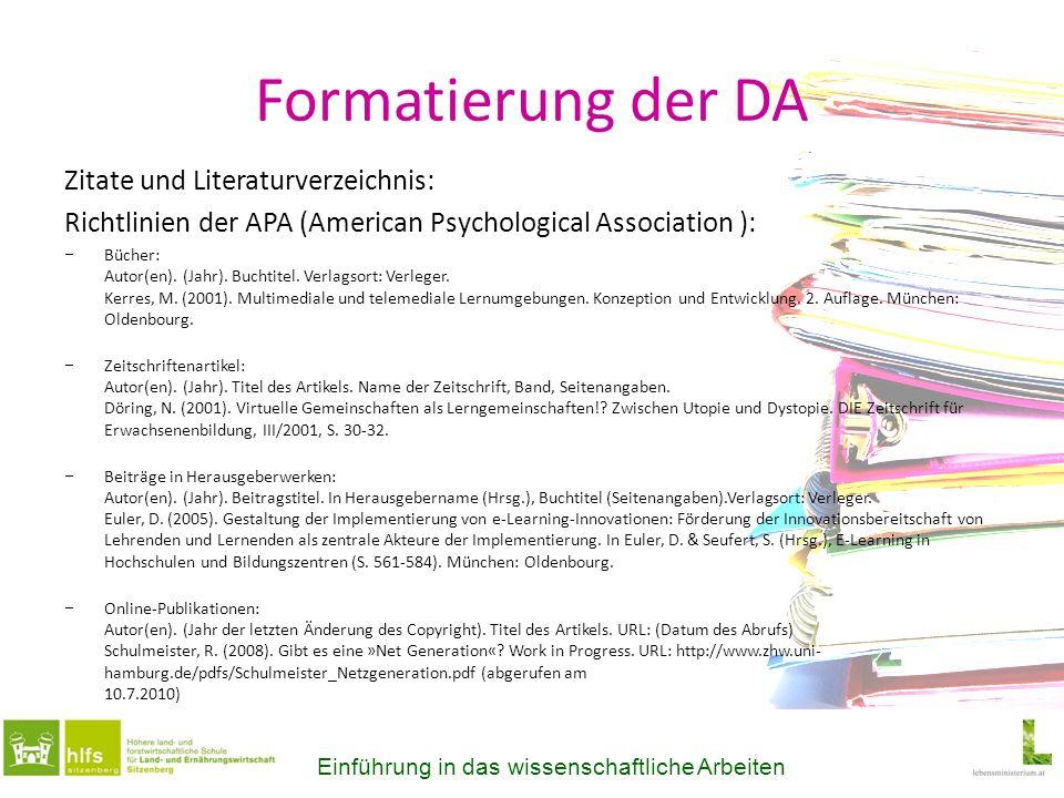 Formatierung der DA Zitate und Literaturverzeichnis: