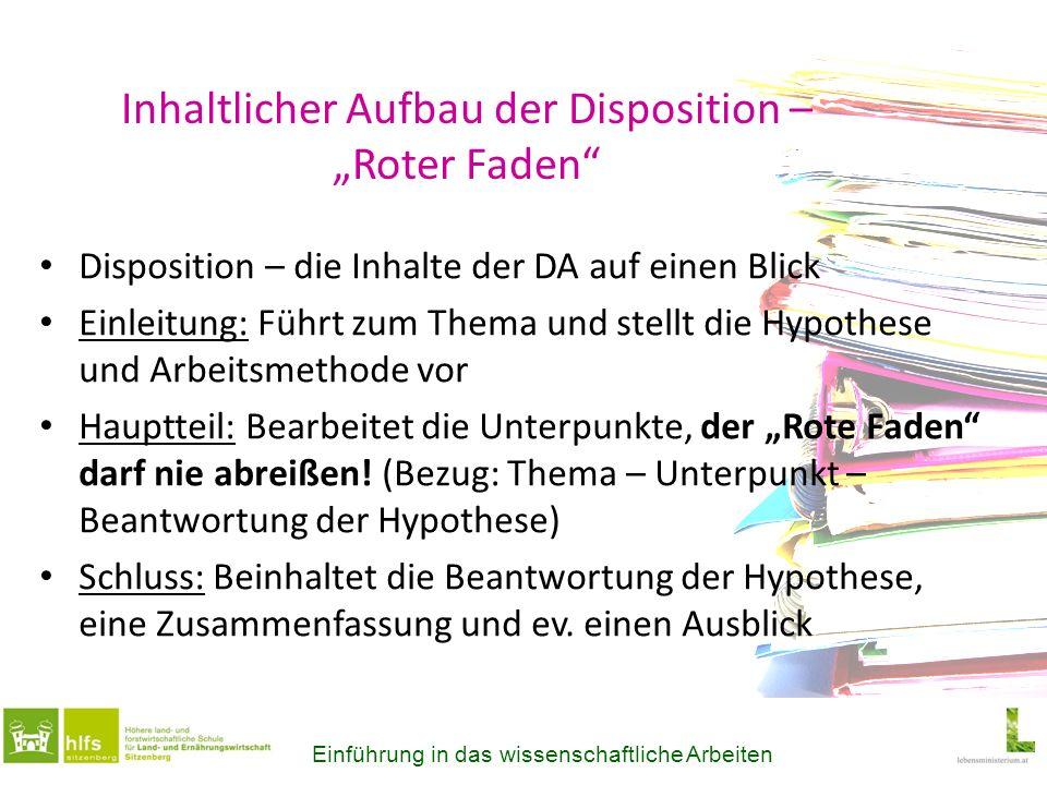 """Inhaltlicher Aufbau der Disposition – """"Roter Faden"""