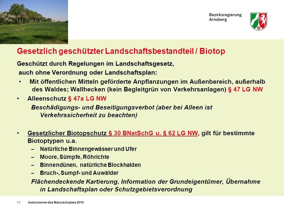 Gesetzlich geschützter Landschaftsbestandteil / Biotop
