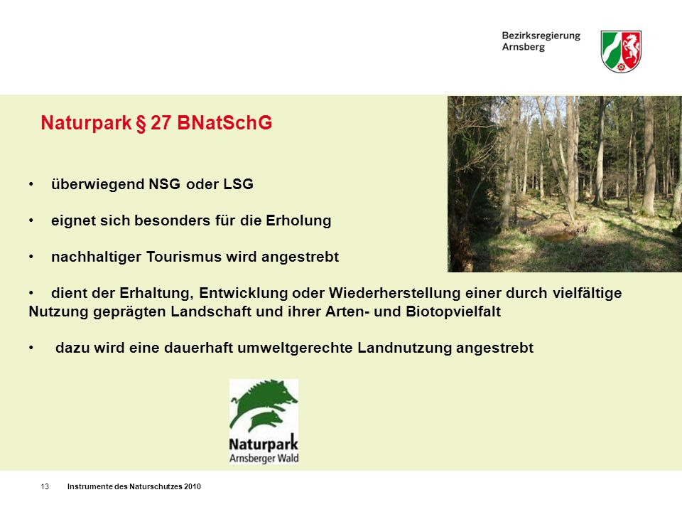 Naturpark § 27 BNatSchG überwiegend NSG oder LSG
