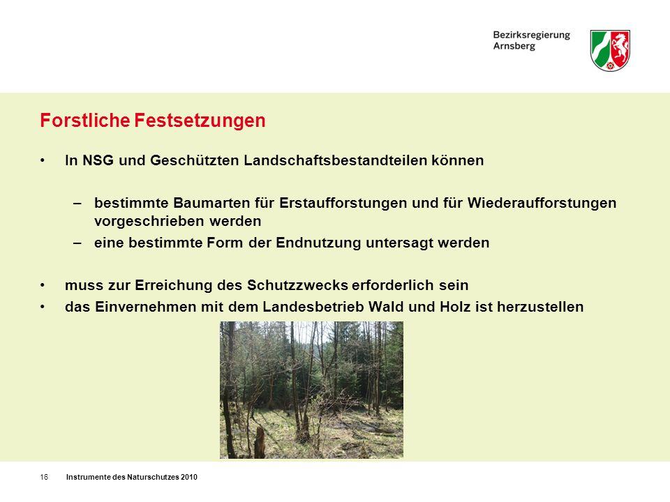 Forstliche Festsetzungen