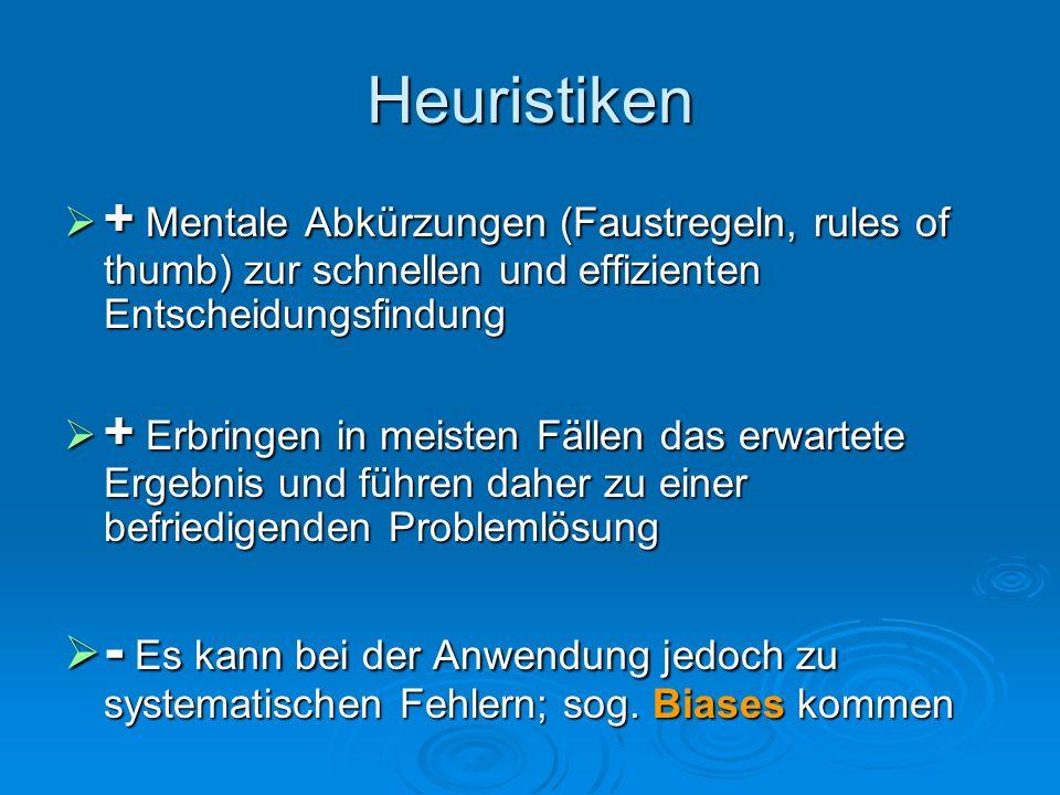 Heuristiken + Mentale Abkürzungen (Faustregeln, rules of thumb) zur schnellen und effizienten Entscheidungsfindung.