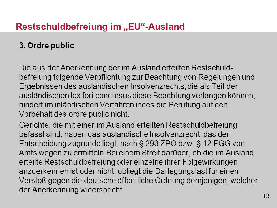 """Restschuldbefreiung im """"EU -Ausland"""