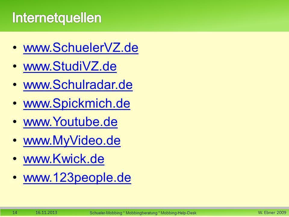 Internetquellen www.SchuelerVZ.de www.StudiVZ.de www.Schulradar.de