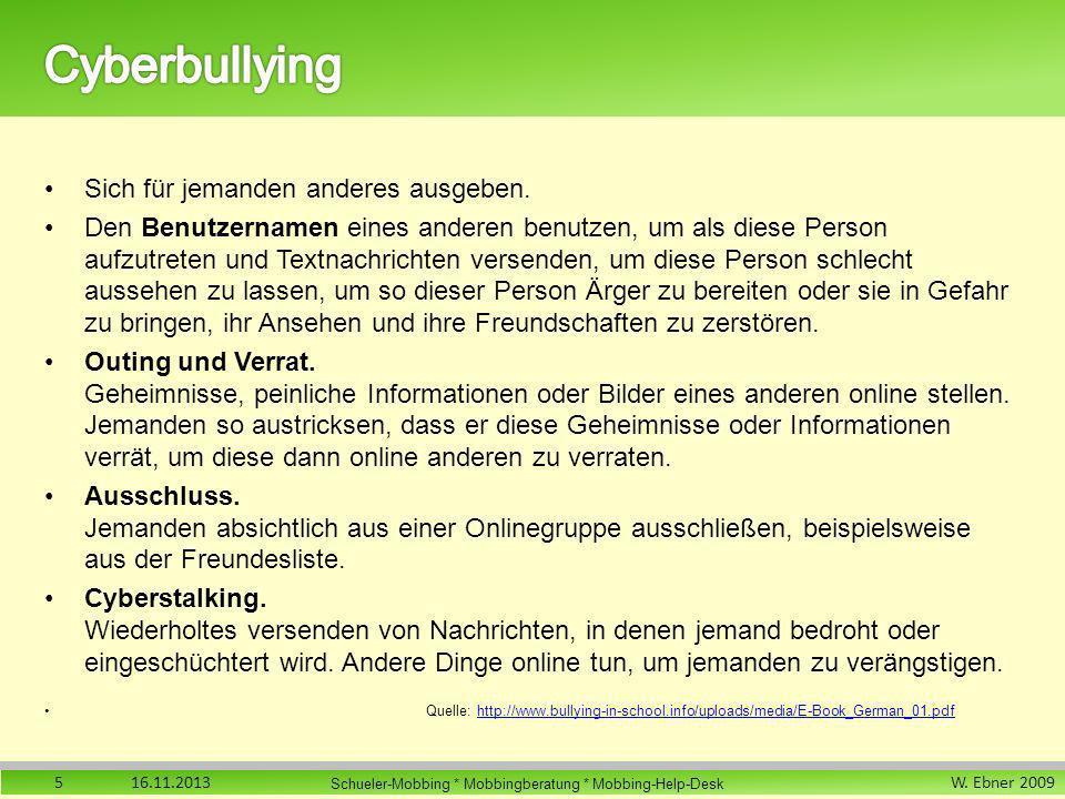 Cyberbullying Sich für jemanden anderes ausgeben.