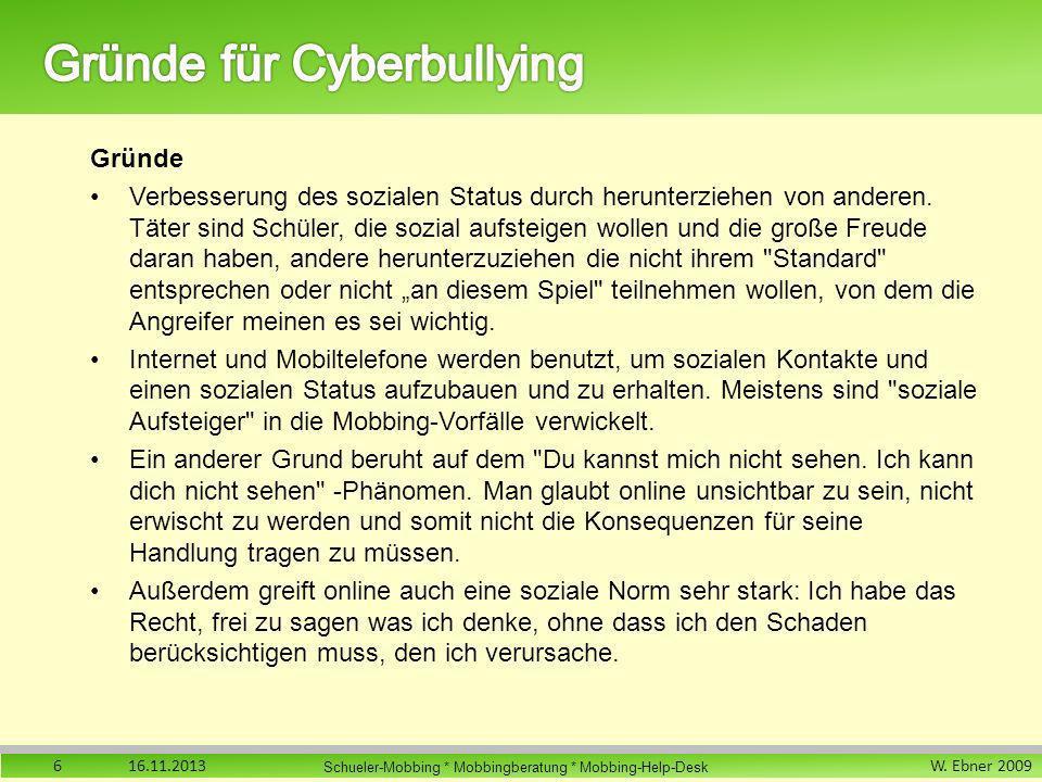 Gründe für Cyberbullying