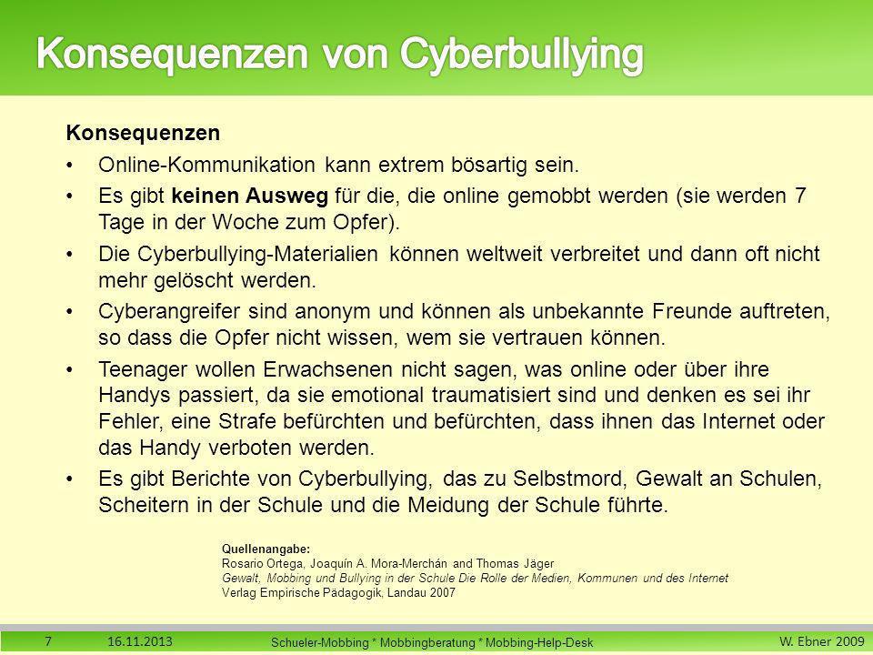 Konsequenzen von Cyberbullying