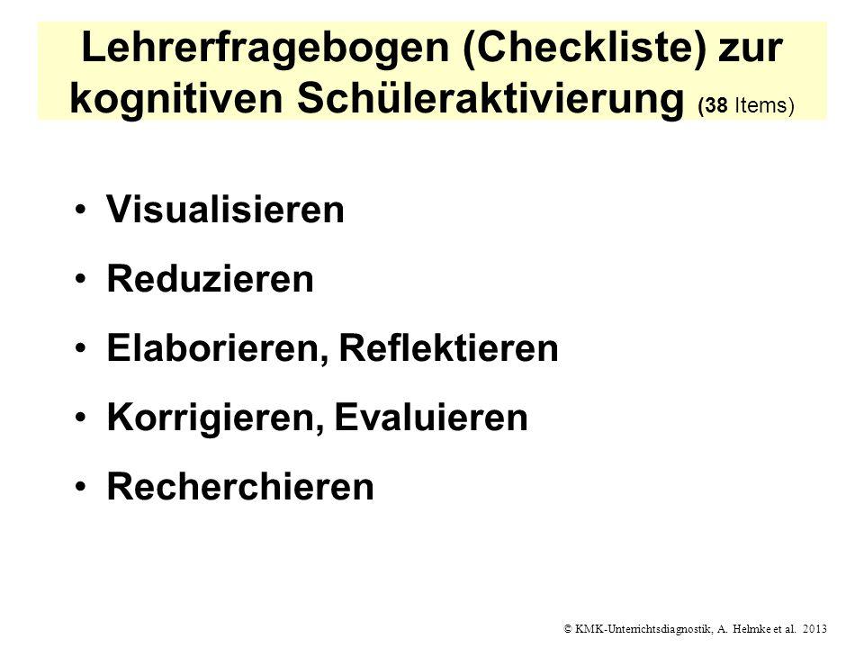Lehrerfragebogen (Checkliste) zur kognitiven Schüleraktivierung (38 Items)