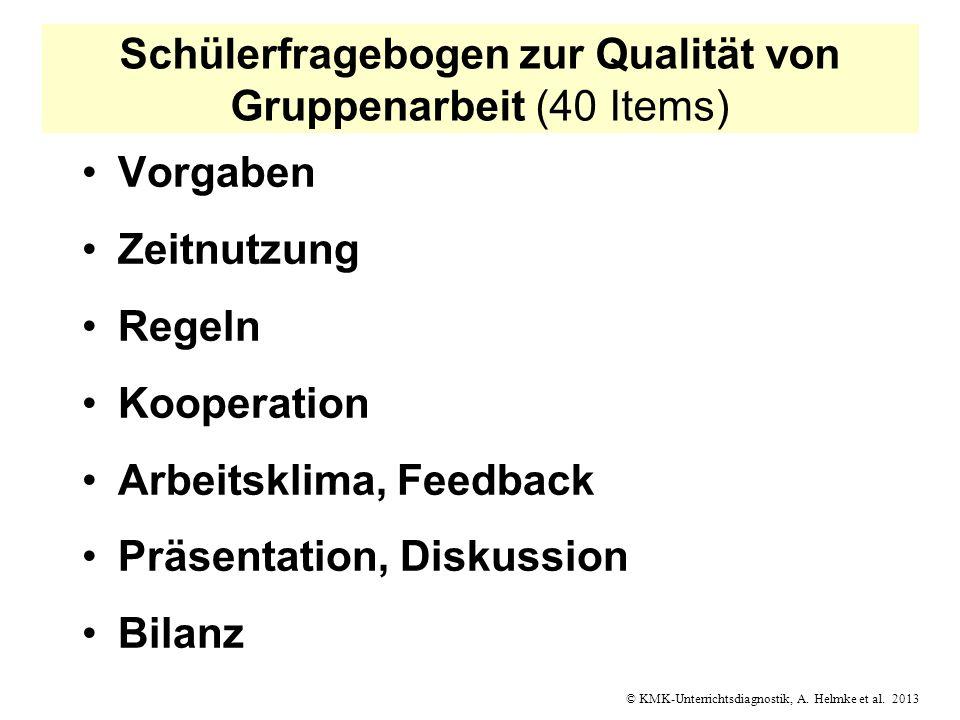 Schülerfragebogen zur Qualität von Gruppenarbeit (40 Items)