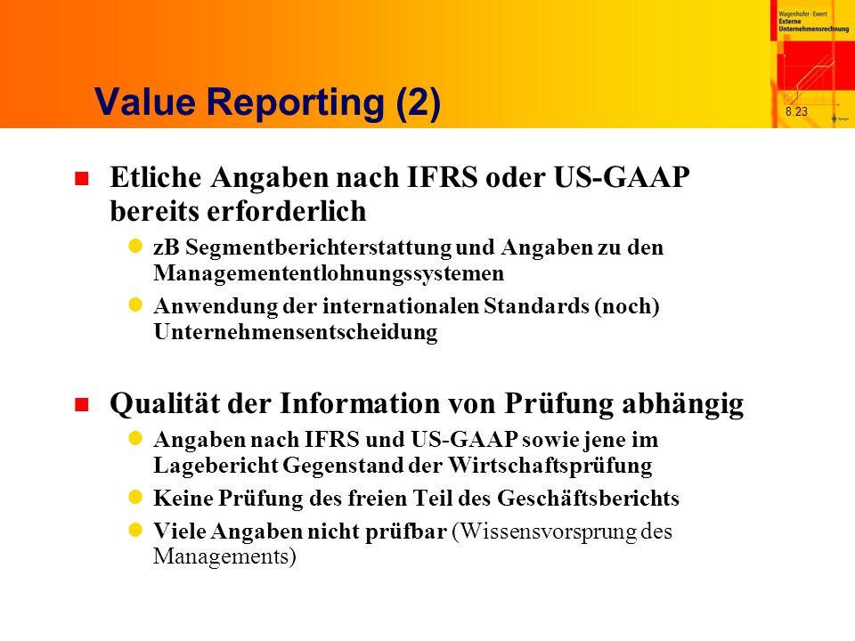 Value Reporting (2) Etliche Angaben nach IFRS oder US-GAAP bereits erforderlich.