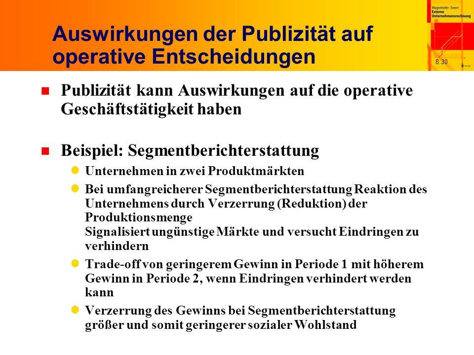 Auswirkungen der Publizität auf operative Entscheidungen