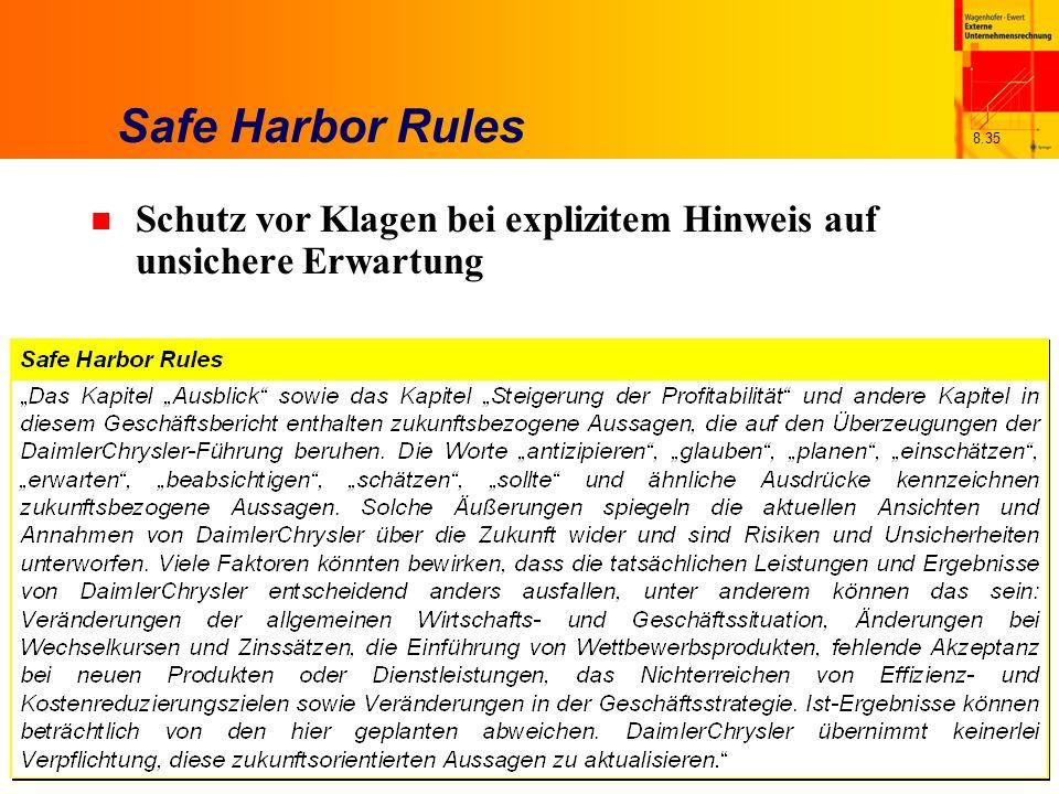 Safe Harbor Rules Schutz vor Klagen bei explizitem Hinweis auf unsichere Erwartung