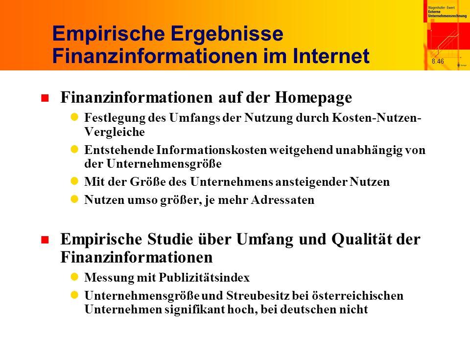 Empirische Ergebnisse Finanzinformationen im Internet