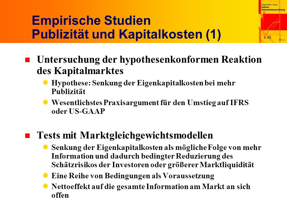 Empirische Studien Publizität und Kapitalkosten (1)