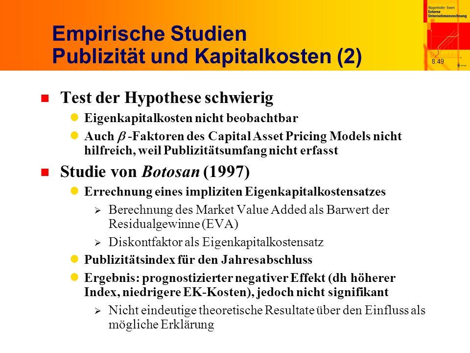 Empirische Studien Publizität und Kapitalkosten (2)