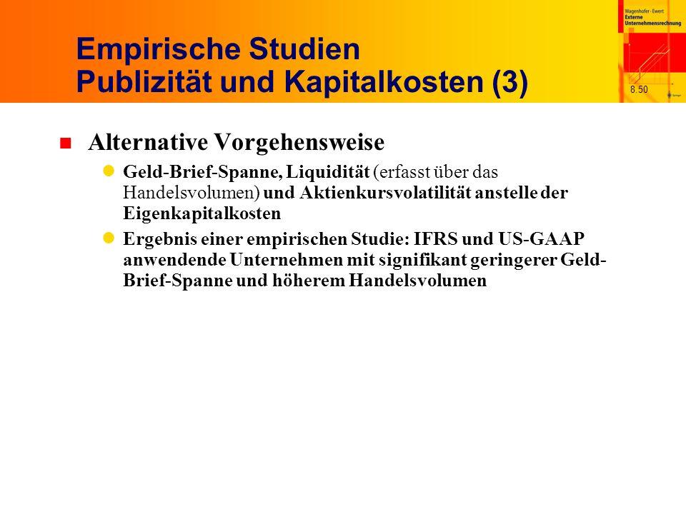 Empirische Studien Publizität und Kapitalkosten (3)