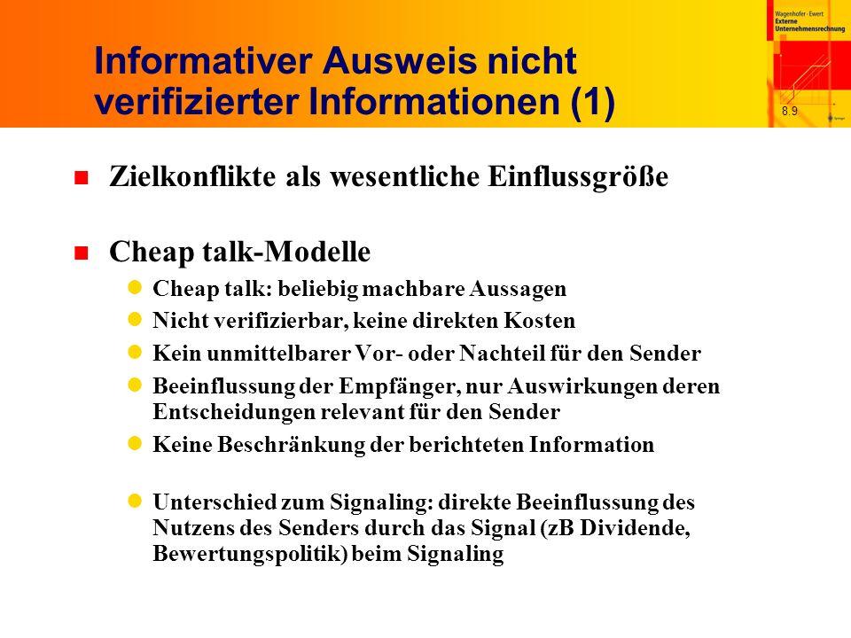 Informativer Ausweis nicht verifizierter Informationen (1)