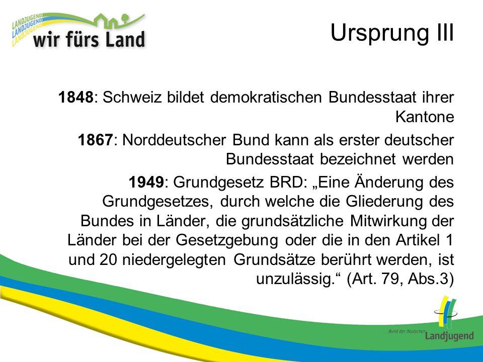 Ursprung III 1848: Schweiz bildet demokratischen Bundesstaat ihrer Kantone.