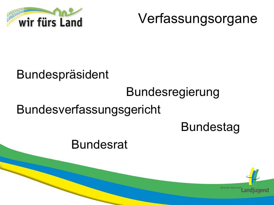 Verfassungsorgane Bundespräsident Bundesregierung