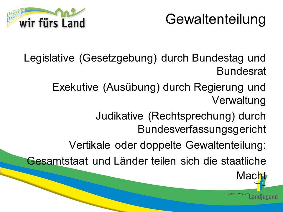 GewaltenteilungLegislative (Gesetzgebung) durch Bundestag und Bundesrat. Exekutive (Ausübung) durch Regierung und Verwaltung.