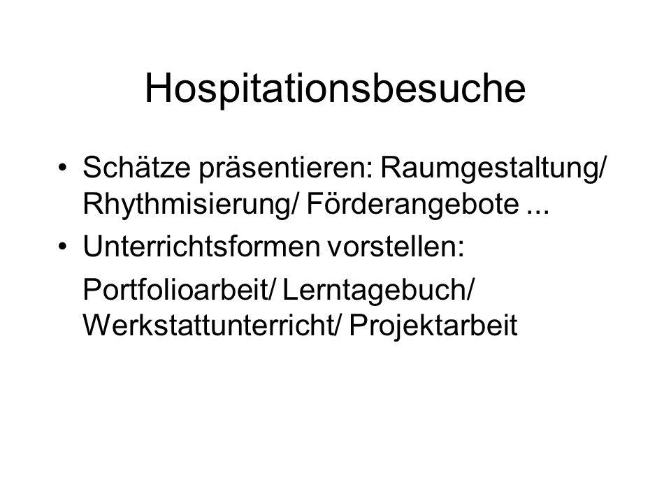 Hospitationsbesuche Schätze präsentieren: Raumgestaltung/ Rhythmisierung/ Förderangebote ... Unterrichtsformen vorstellen: