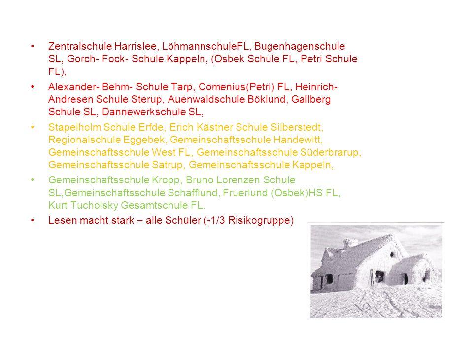 Zentralschule Harrislee, LöhmannschuleFL, Bugenhagenschule SL, Gorch- Fock- Schule Kappeln, (Osbek Schule FL, Petri Schule FL),