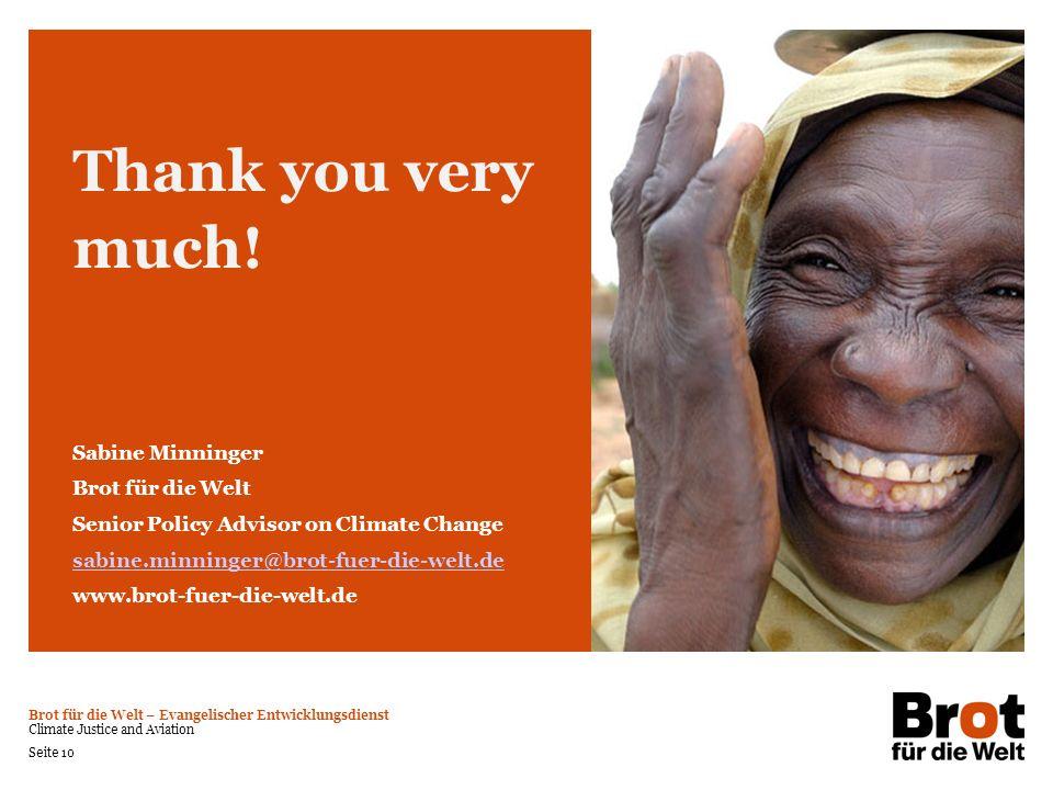 Thank you very much! Sabine Minninger Brot für die Welt