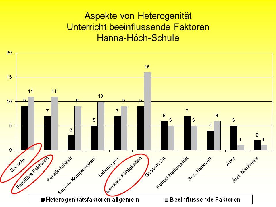 Aspekte von Heterogenität Unterricht beeinflussende Faktoren Hanna-Höch-Schule