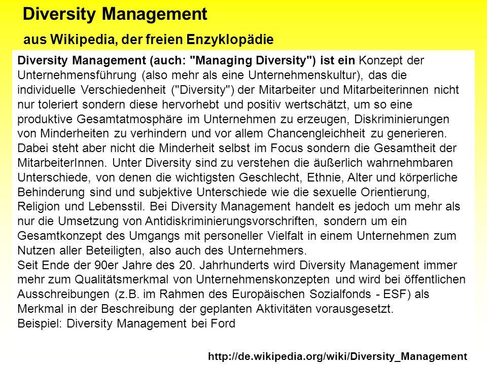 Diversity Management aus Wikipedia, der freien Enzyklopädie