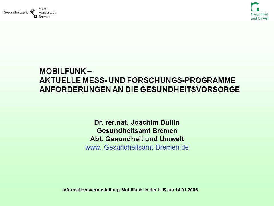 Informationsveranstaltung Mobilfunk in der IUB am 14.01.2005