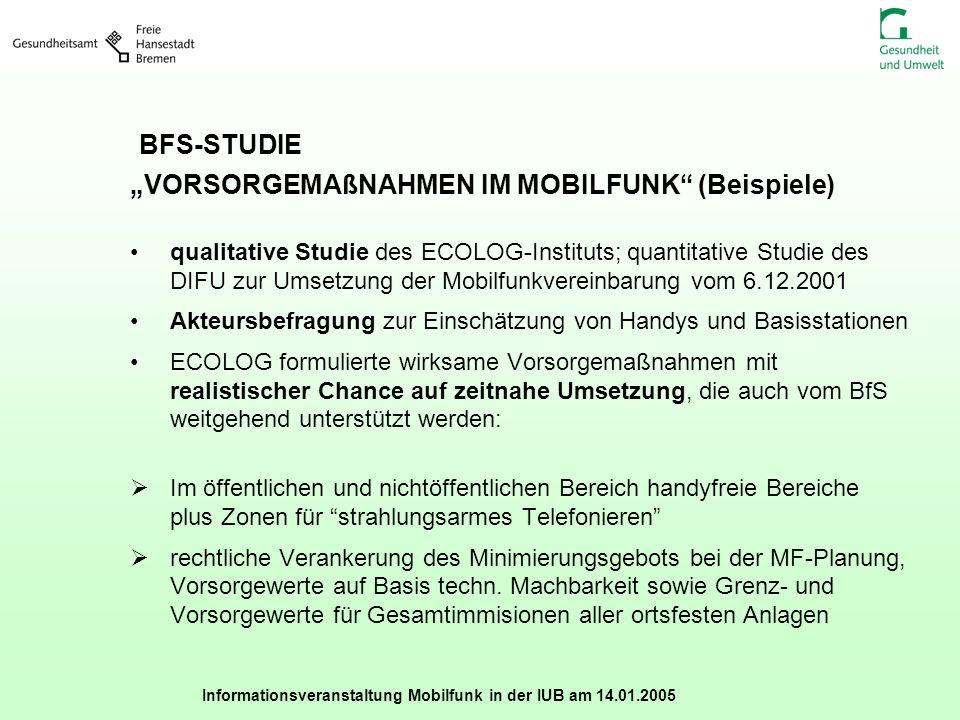 """BFS-STUDIE """"VORSORGEMAßNAHMEN IM MOBILFUNK (Beispiele)"""