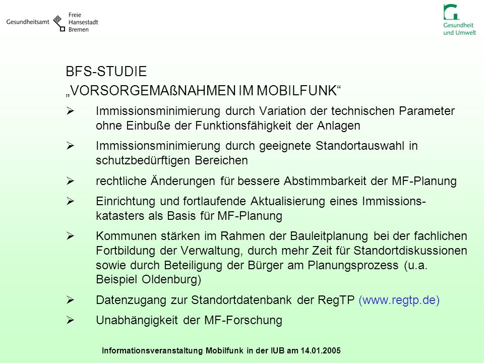 """BFS-STUDIE """"VORSORGEMAßNAHMEN IM MOBILFUNK"""