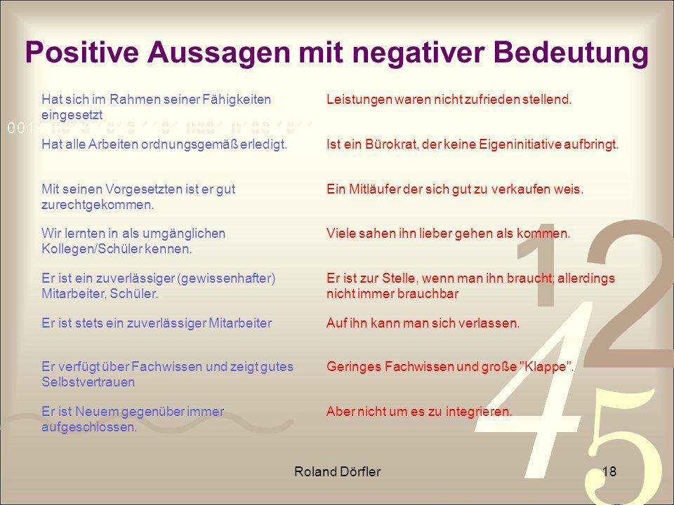 Positive Aussagen mit negativer Bedeutung