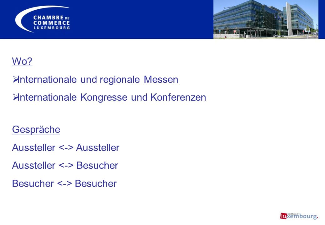 Internationale und regionale Messen