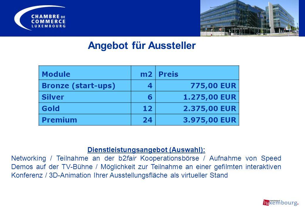 Angebot für Aussteller Dienstleistungsangebot (Auswahl):