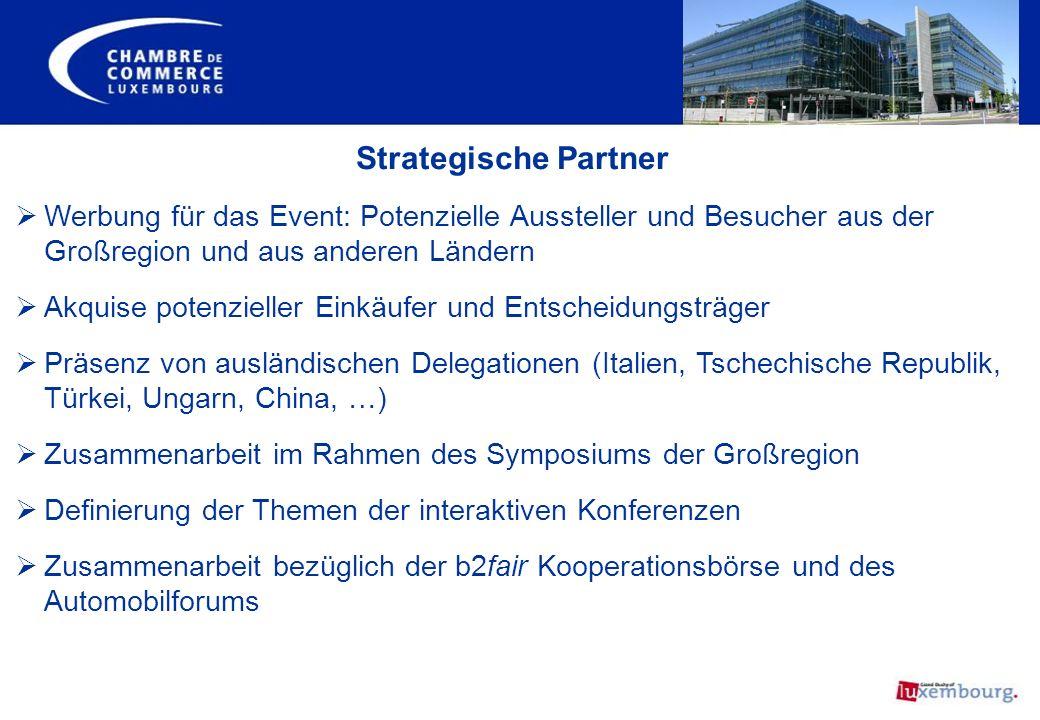 Strategische Partner Werbung für das Event: Potenzielle Aussteller und Besucher aus der Großregion und aus anderen Ländern.