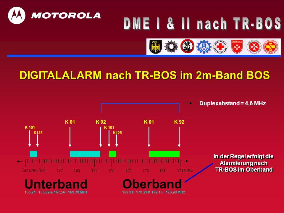 In der Regel erfolgt die Alarmierung nach TR-BOS im Oberband